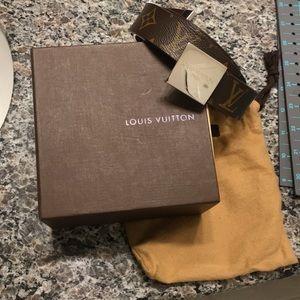 Men's Louis Vuitton LV Belt w/ Plaque Buckle 34/85